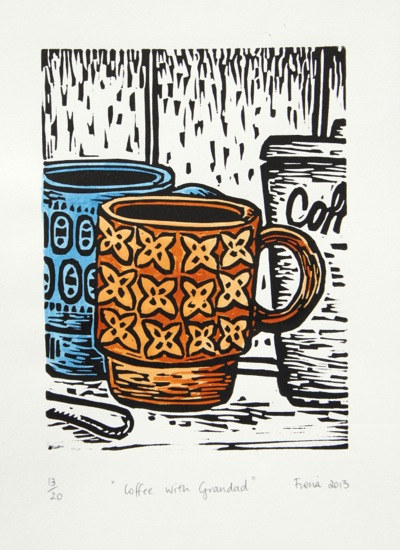 22. 'Coffee with Grandad' A4 blue tan